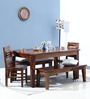 Salem Six Seater Dining Set with 2 Benches in Provincial Teak Finish by Woodsworth