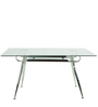 Six Seater Dining Table with Glass Top in Silver Colour by Penache Furnishings