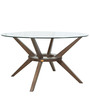 Six Seater Round Dining Set with Glass Top in Brown & Blue Colour by Parin