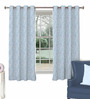 Skipper Blue Polyester & Cotton Abstract Pattern Window Curtain - Set of 2