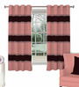 Skipper Maroon & Coral Polyester & Cotton Waves Pattern Window Curtain - Set of 2