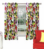 Skipper Pink & Purple Polyester Floral Pattern Window Curtain - Set of 2
