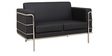 Sleek Two Seater Sofa with Artificial Leather Upholstery in Black Coolour by Star India