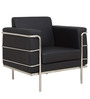 Sleek One Seater Sofa with Artificial Leather Upholstery in Black Coolour by Star India