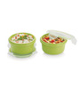 Smart Lock Green Melamine  225 ML Each Lunch Box With Bag - Set of 2