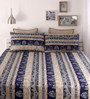 Snuggles Blue Cotton Queen Size Bed Sheet - Set of 3