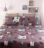 Snuggles Gray Cotton Queen Size Bed Sheet - Set of 3