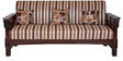 Sofa Set (3+1+1) Seater in Brown Polish & Shanil Fabric by Karigar