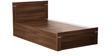 Solitaire Single Bed with Box Storage in Acacia Dark Matt Finish by Debono