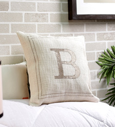 Solaj Off White Cotton 18 X 18 Inch Woven Embroidered B Letter Cushion Cover