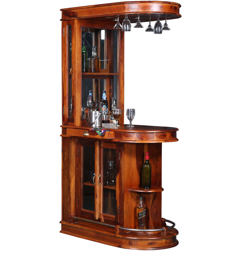 Buy clarke bar unit in honey oak finish by amberville for Wooden bar unit