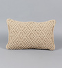Solaj Beige Cotton 12 x 18 Inch Knotted Cushion Cover