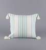 Solaj Green & White Cotton 18 x 18 Inch Woven with Tassels Cushion Cover