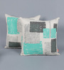 Solaj Multicolour Cotton 20 x 20 Inch Abstract Patterns Embroidery Cushion Cover