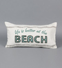 Solaj Off White Cotton 12 x 20 Inch Printed & Embroidered Cushion Cover