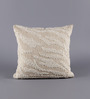Solaj Off White Cotton 16 x 16 Inch Embroidered with Bead Work Cushion Cover