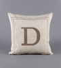 Solaj Off White Cotton 18 x 18 Inch Woven Embroidered D Letter Cushion Cover