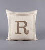 Solaj Off White Cotton 18 x 18 Inch Woven Embroidered R Letter Cushion Cover