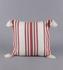 Solaj Red & White Cotton 18 x 18 Inch Woven with Tassels Cushion Cover