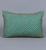 Solaj Teal Cotton 12 x 18 Inch Beaded Jaal Cushion Cover