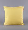Solaj Yellow Cotton 18 x 18 Inch Twill Tape Applique Cushion Cover