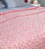 Soma White & Pink Nature & Florals Cotton King Size Quilt 1 Pc