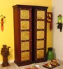 Advara Almirah (Wardrobe - Set of 2) with Repousse work in Passion Mahogany Finish by Mudramark