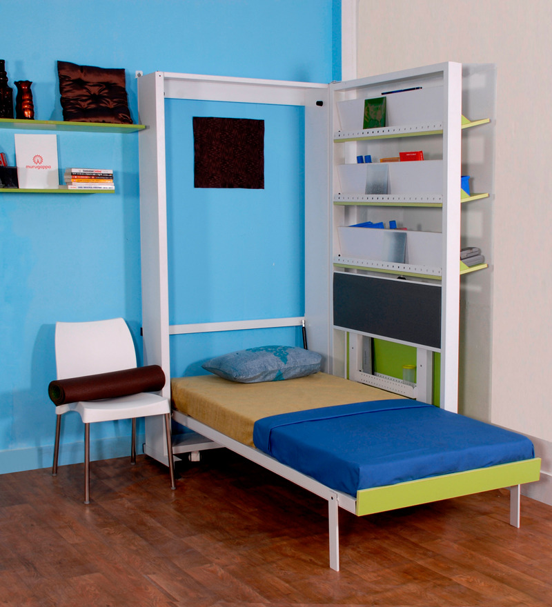 spaceone space saving single bed cum study table by