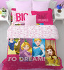 SPACES Disney Princess Double Bedsheet with 2 Pillow Covers