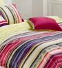 Esprit Home Stripes Multicolour 100% Cotton Abstract Single Bed Sheet (with Pillow Covers) - Set of 2