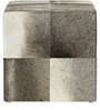 Square Leather Pouffe in Grey Colour by SWHF