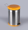 SS Silverware Perforated Orange 7 L Pedal Dustbin with Lid