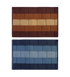Status Brown & Blue Delure 23 X 15 Inch Bricked Door Mat - Set Of 2