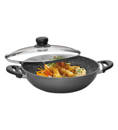 Stoneline  Stone Coated Non-Stick Aluminium 5700 ML Wok With Mounted Handles And Glass Lid