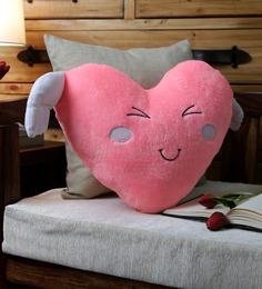 Stybuzz Pink Velvet 16 X 16 Inch Angel Wing Heart Cushion Cover With Insert