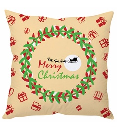 Stybuzz Beige 100 % Polyester 16 X 16 Inch Merry Christmas Cushion Cover