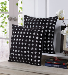 Stybuzz Black Velvet 16 X 16 Inch Star Pattern Cushion Cover - Set Of 5
