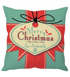 Stybuzz Blue & Red 100 % Polyester 16 X 16 Inch Merry Christmas Cushion Cover