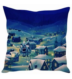 Stybuzz Christmas Snow Town Cushion Cover