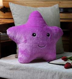 Stybuzz Purple Velvet 12 X 12 Inch Cute Star Abstract Cushion Cover With Insert