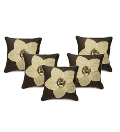 Stybuzz Brown Duppioni 16 X 16 Inch Embroidered Cushion Covers - Set Of 5