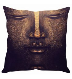 Stybuzz Brown Silk 16 X 16 Inch Buddha Face Painting Cushion Cover