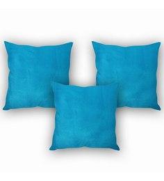 Stybuzz Lush Velvet Blue Cushion Cover (Set Of 3)