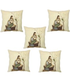Stybuzz Beige Silk 16 X 16 Inch Traditional Indian Woman Cushion Covers - Set Of 5