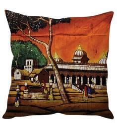 Stybuzz Multicolor Silk 16 X 16 Inch Village Art Orange Cushion Cover