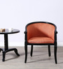 Stalley Arm Chair in Orange Color with Espresso Walnut Finish by Amberville