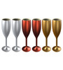 Stallion Barware Unbreakable Gold-Silver-Copper Flute 170 ML Champagne Glass - Set of 6