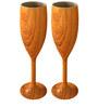 Stallion Barware Unbreakable Harbour Wood Finish Flute 170 ML Champagne Glass - Set of 2