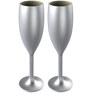 Stallion Barware Unbreakable Silver Flute 170 ML Champagne Glass - Set of 2
