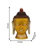Statue Studio Yellow Brass 5 x 3 x 8 Inch Buddha Head Statue Showpiece